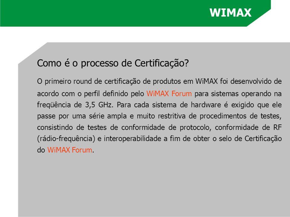 Como é o processo de Certificação? O primeiro round de certificação de produtos em WiMAX foi desenvolvido de acordo com o perfil definido pelo WiMAX F