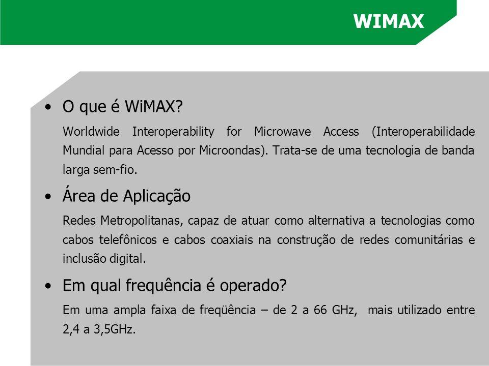 O que é WiMAX? Worldwide Interoperability for Microwave Access (Interoperabilidade Mundial para Acesso por Microondas). Trata-se de uma tecnologia de
