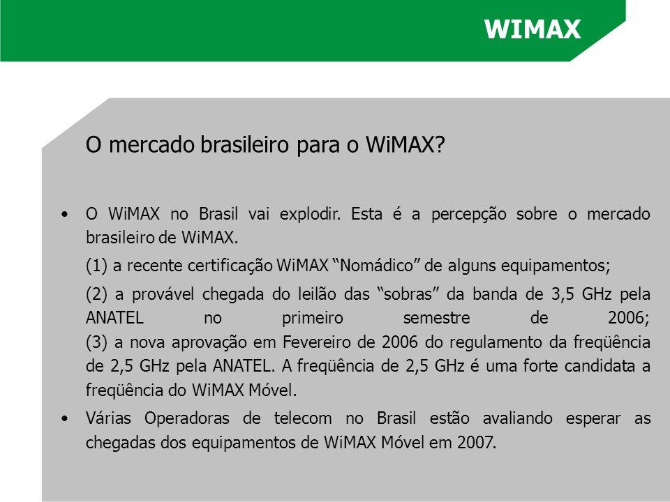 O mercado brasileiro para o WiMAX? O WiMAX no Brasil vai explodir. Esta é a percepção sobre o mercado brasileiro de WiMAX. (1) a recente certificação