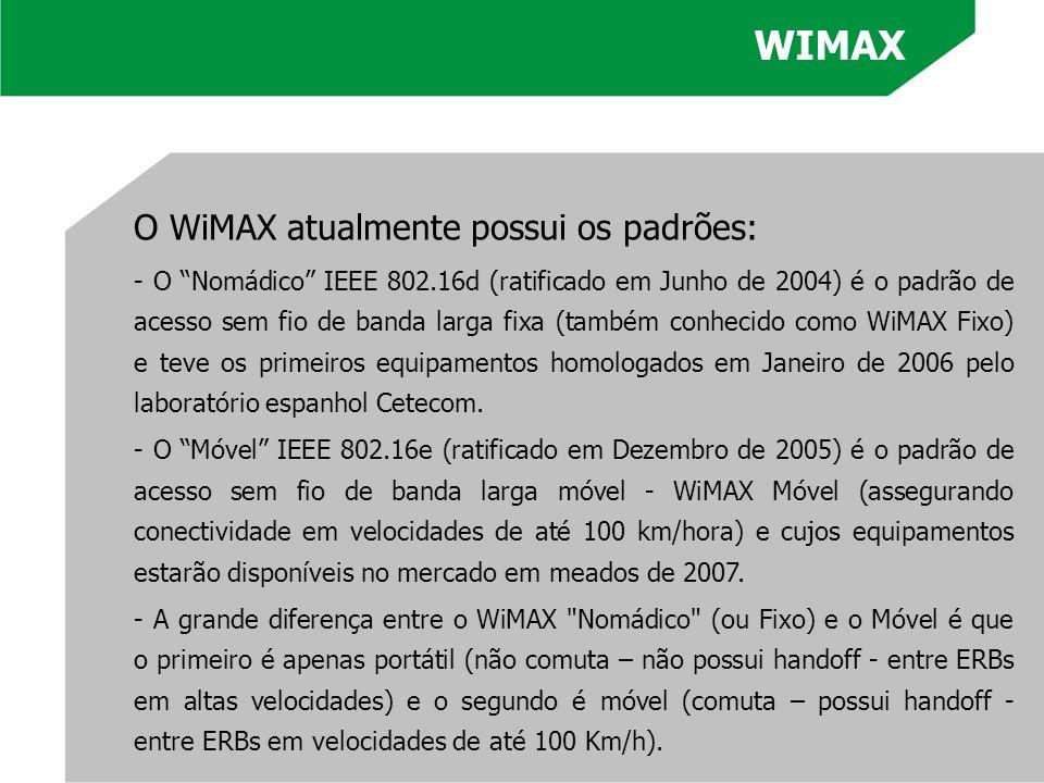 O WiMAX atualmente possui os padrões: - O Nomádico IEEE 802.16d (ratificado em Junho de 2004) é o padrão de acesso sem fio de banda larga fixa (também