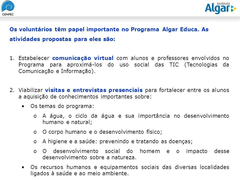 Reunião Gerencial, 20/05/2008 Os voluntários têm papel importante no Programa Algar Educa. As atividades propostas para eles são: 1.Estabelecer comuni