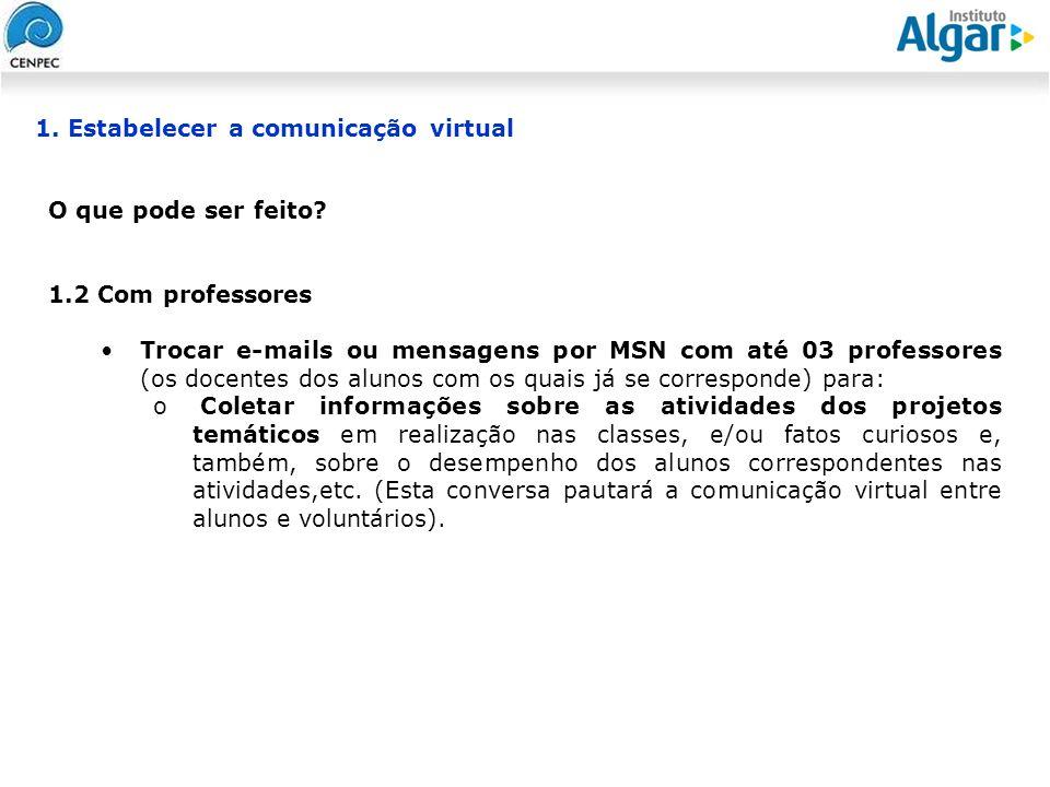 Reunião Gerencial, 20/05/2008 O que pode ser feito? 1.2 Com professores Trocar e-mails ou mensagens por MSN com até 03 professores (os docentes dos al