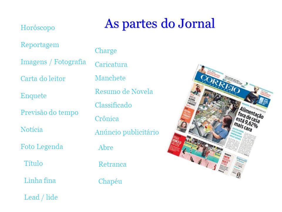 As partes do Jornal Horóscopo Reportagem Imagens / Fotografia Carta do leitor Enquete Previsão do tempo Notícia Foto Legenda Título Linha fina Lead /