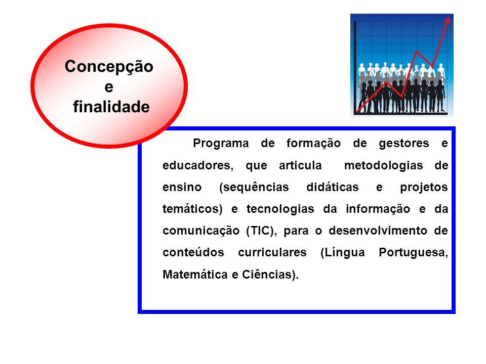 Programa de formação de gestores e educadores, que articula metodologias de ensino (sequências didáticas e projetos temáticos) e tecnologias da inform