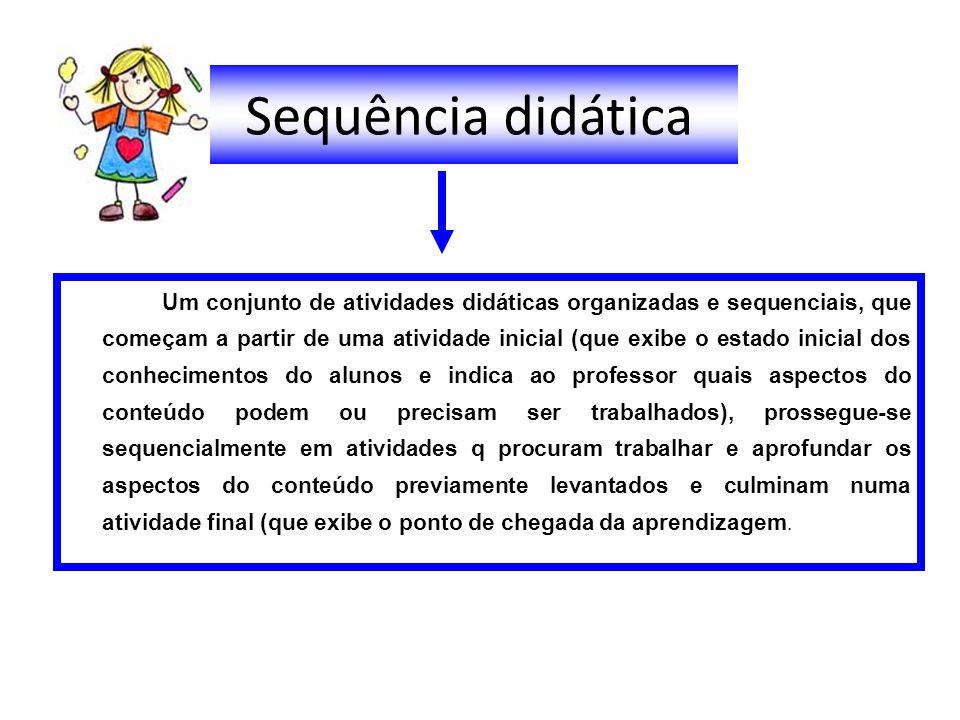 Sequência didática Um conjunto de atividades didáticas organizadas e sequenciais, que começam a partir de uma atividade inicial (que exibe o estado in