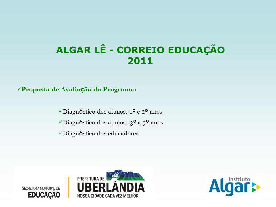 ALGAR LÊ - CORREIO EDUCAÇÃO 2011 Proposta de Avalia ç ão do Programa: Diagn ó stico dos alunos: 1 º e 2 º anos Diagn ó stico dos alunos: 3 º a 9 º anos Diagn ó stico dos educadores
