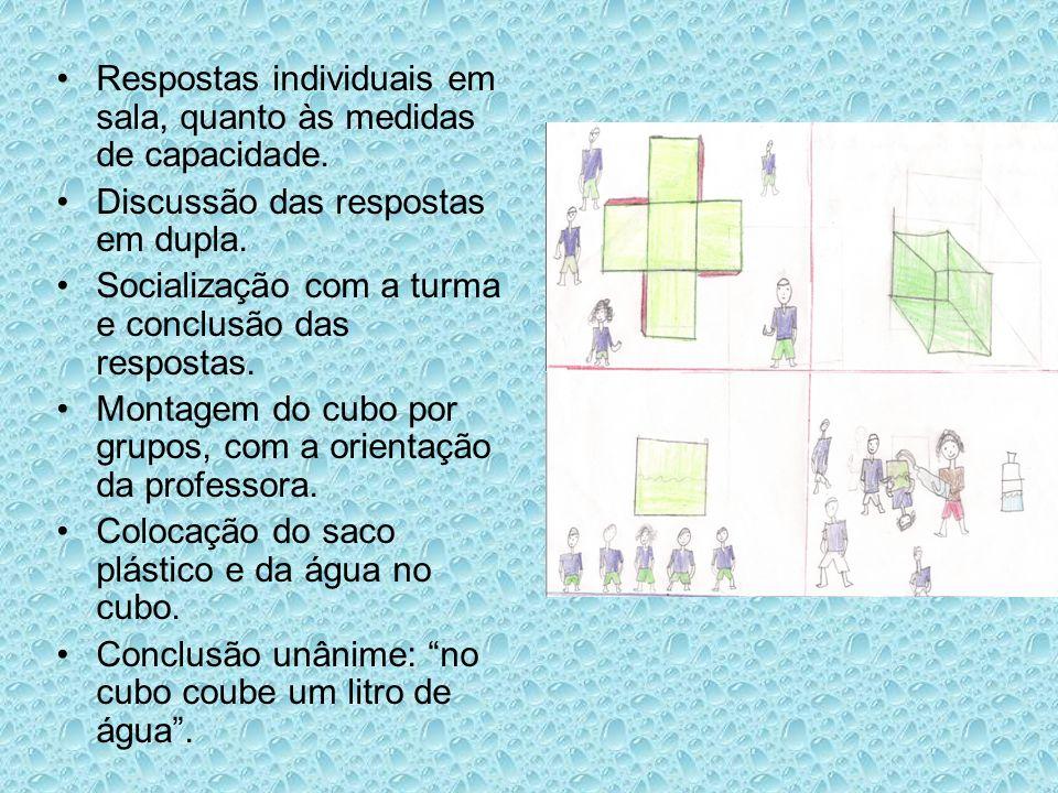 Respostas individuais em sala, quanto às medidas de capacidade.