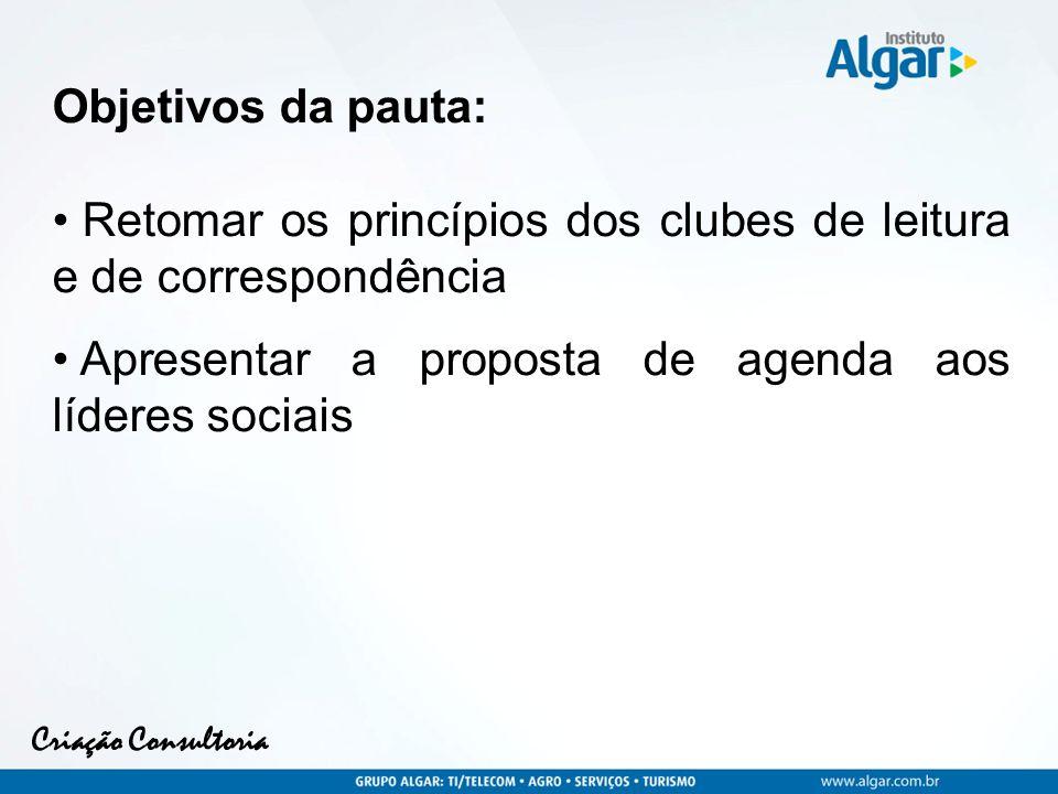 Criação Consultoria Objetivos da pauta: Retomar os princípios dos clubes de leitura e de correspondência Apresentar a proposta de agenda aos líderes sociais