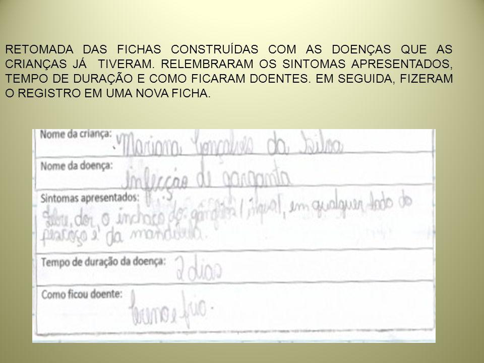 RODA PARA LEITURA DAS FICHAS: 1º MOMENTO- LEITURA DAS DOENÇAS APRESENTADAS.