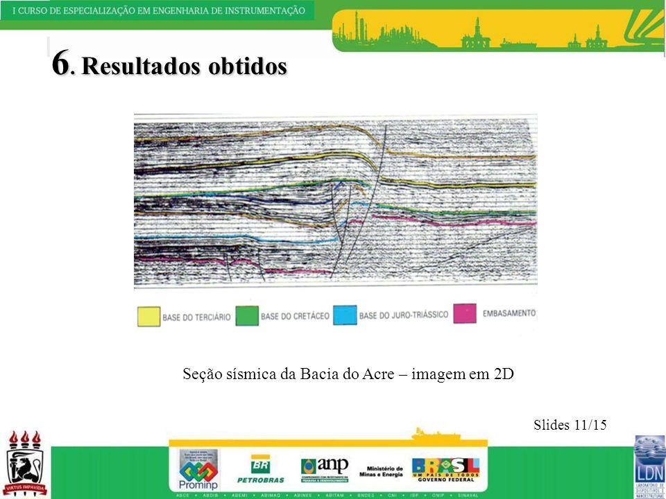 6. Resultados obtidos Slides 11/15 Seção sísmica da Bacia do Acre – imagem em 2D