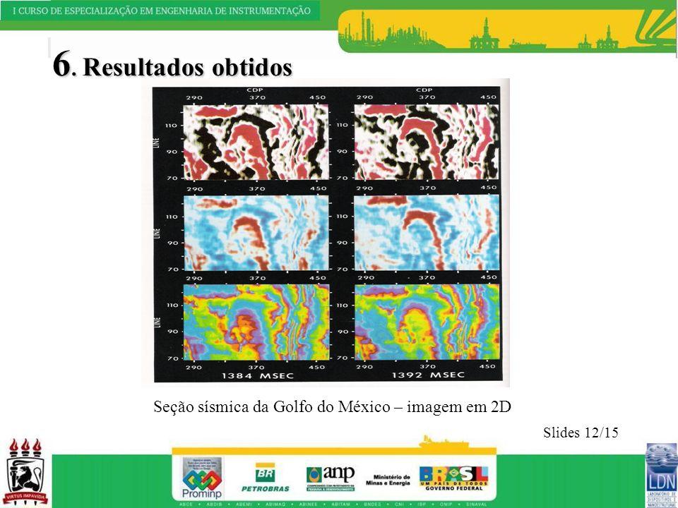 6. Resultados obtidos Slides 12/15 Seção sísmica da Golfo do México – imagem em 2D