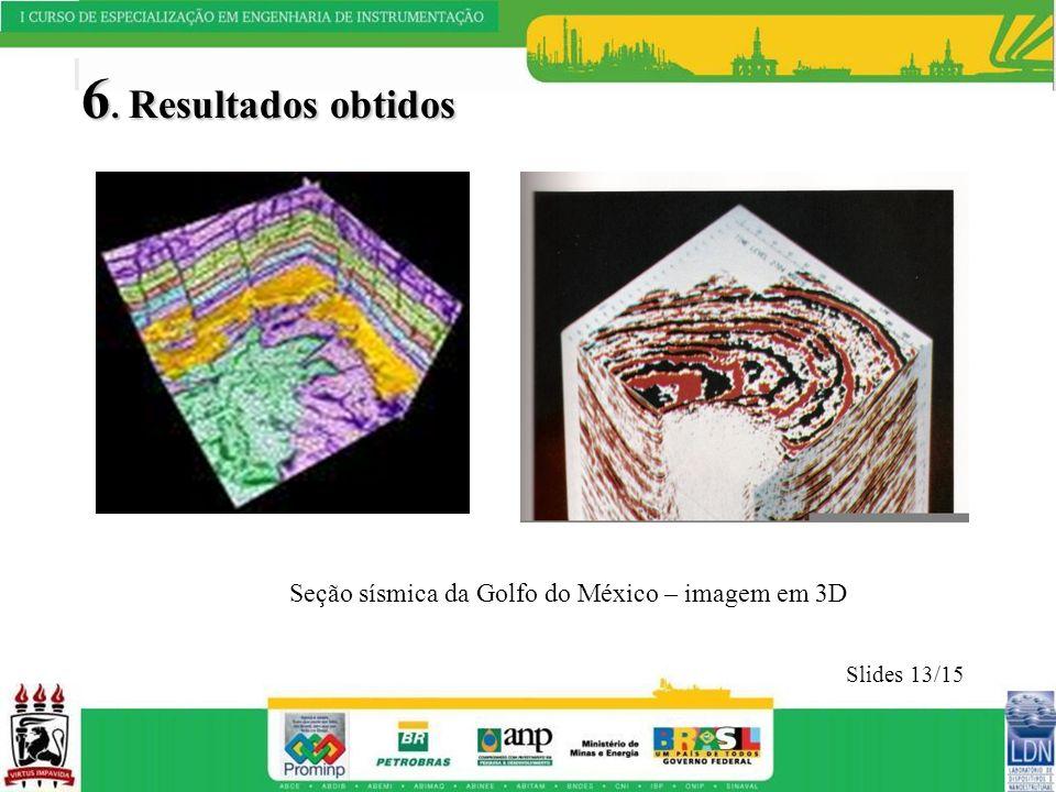 6. Resultados obtidos Slides 13/15 Seção sísmica da Golfo do México – imagem em 3D