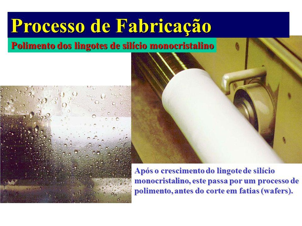 Polimento dos lingotes de silício monocristalino Processo de Fabricação Após o crescimento do lingote de silício monocristalino, este passa por um pro