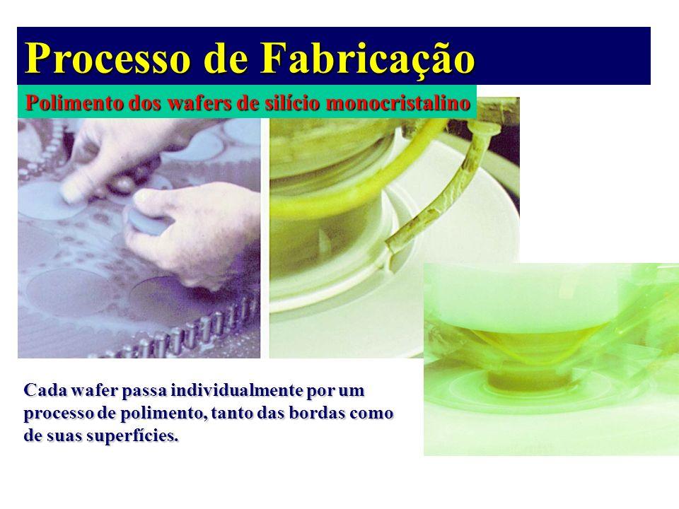 Polimento dos wafers de silício monocristalino Processo de Fabricação Cada wafer passa individualmente por um processo de polimento, tanto das bordas
