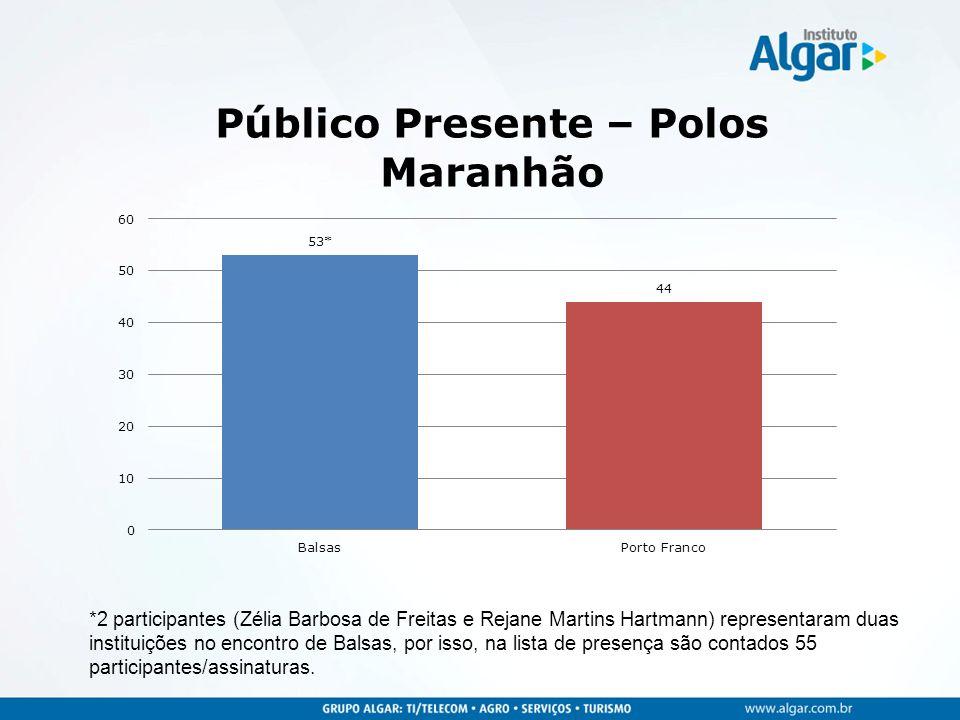 *2 participantes (Zélia Barbosa de Freitas e Rejane Martins Hartmann) representaram duas instituições no encontro de Balsas, por isso, na lista de pre