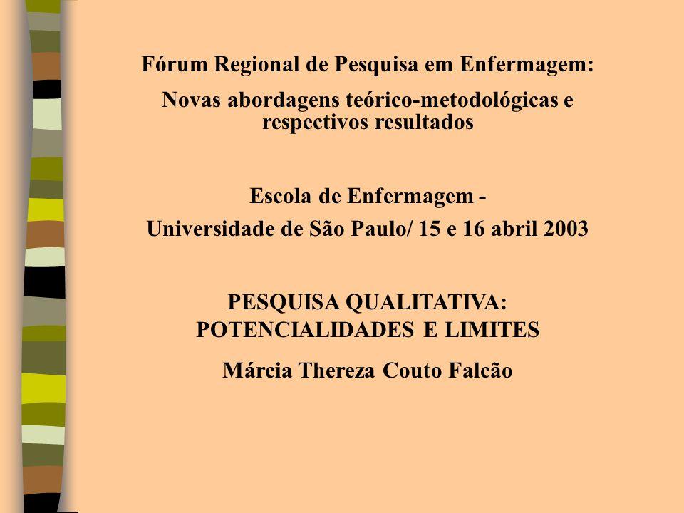 Fórum Regional de Pesquisa em Enfermagem: Novas abordagens teórico-metodológicas e respectivos resultados Escola de Enfermagem - Universidade de São P