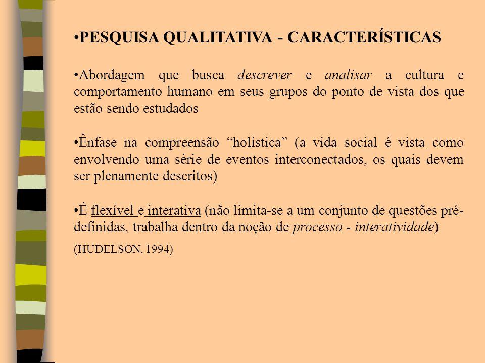 PESQUISA QUALITATIVA - CARACTERÍSTICAS Abordagem que busca descrever e analisar a cultura e comportamento humano em seus grupos do ponto de vista dos