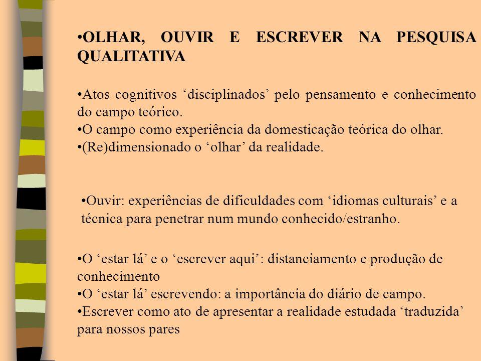 OLHAR, OUVIR E ESCREVER NA PESQUISA QUALITATIVA Atos cognitivos disciplinados pelo pensamento e conhecimento do campo teórico. O campo como experiênci