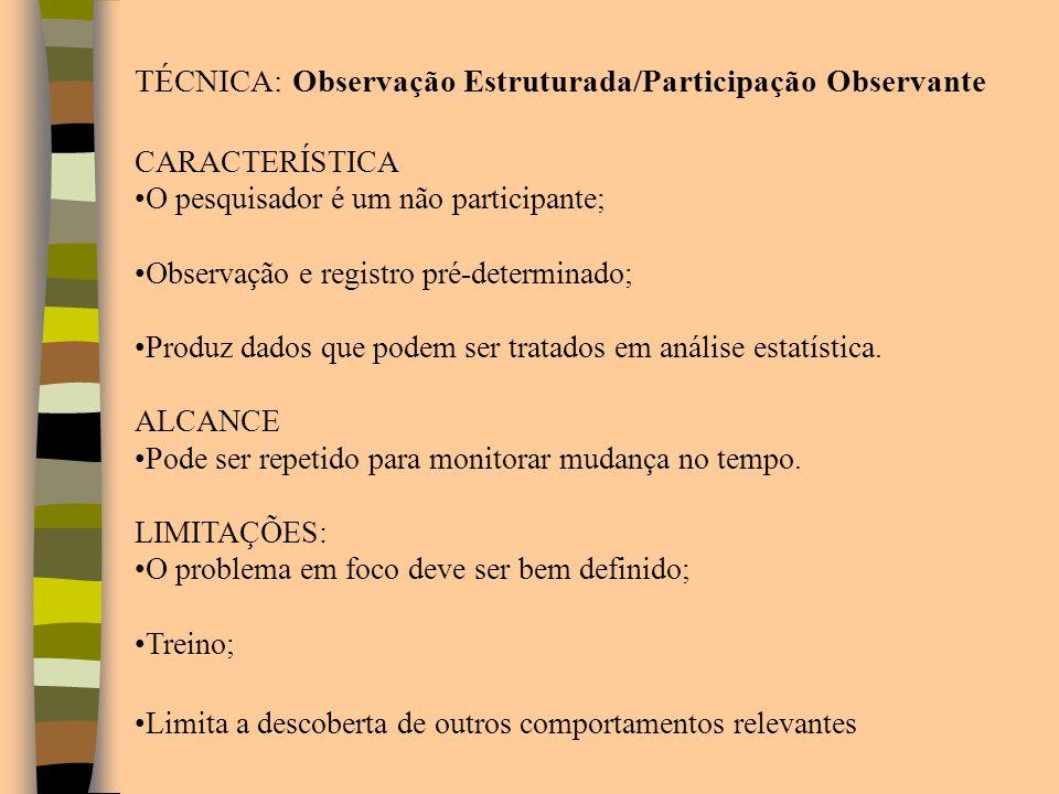 TÉCNICA: Observação Estruturada/Participação Observante CARACTERÍSTICA O pesquisador é um não participante; Observação e registro pré-determinado; Pro