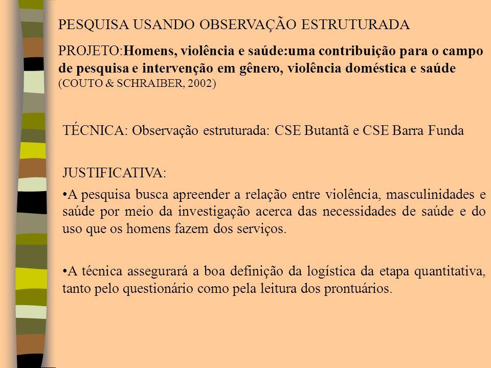 TÉCNICA: Observação estruturada: CSE Butantã e CSE Barra Funda JUSTIFICATIVA: A pesquisa busca apreender a relação entre violência, masculinidades e s