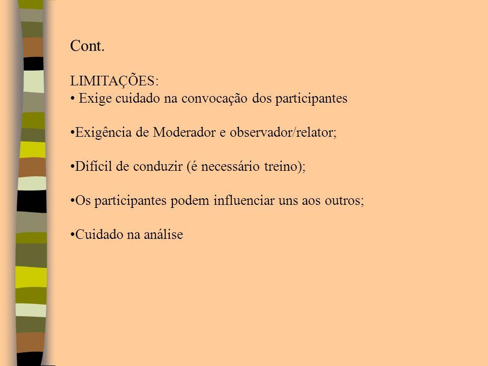 Cont. LIMITAÇÕES: Exige cuidado na convocação dos participantes Exigência de Moderador e observador/relator; Difícil de conduzir (é necessário treino)