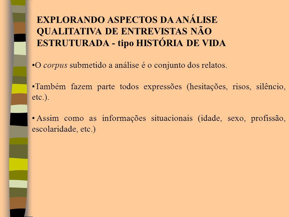 EXPLORANDO ASPECTOS DA ANÁLISE QUALITATIVA DE ENTREVISTAS NÃO ESTRUTURADA - tipo HISTÓRIA DE VIDA O corpus submetido a análise é o conjunto dos relato