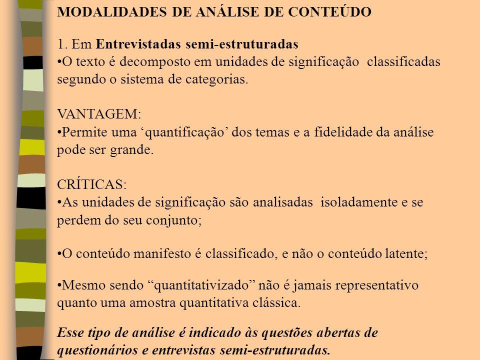 MODALIDADES DE ANÁLISE DE CONTEÚDO 1. Em Entrevistadas semi-estruturadas O texto é decomposto em unidades de significação classificadas segundo o sist