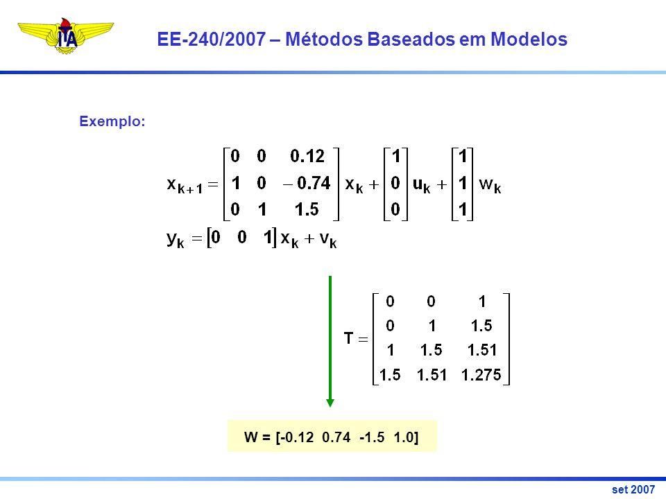 EE-240/2007 – Métodos Baseados em Modelos set 2007 Exemplo: W = [-0.12 0.74 -1.5 1.0]