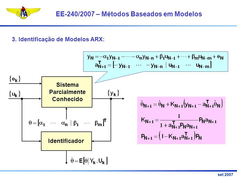 EE-240/2007 – Métodos Baseados em Modelos set 2007 Identificador Sistema Parcialmente Conhecido 3.
