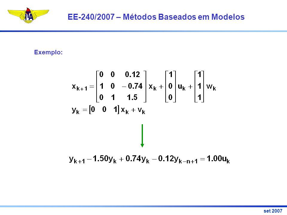 EE-240/2007 – Métodos Baseados em Modelos set 2007 Exemplo: