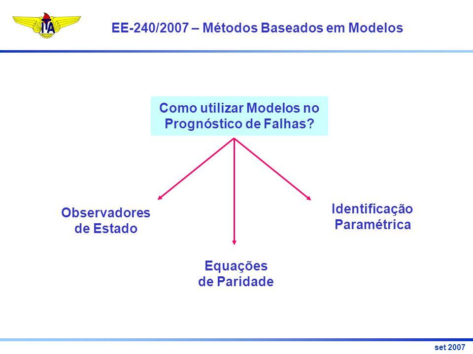 EE-240/2007 – Métodos Baseados em Modelos set 2007 Como utilizar Modelos no Prognóstico de Falhas.