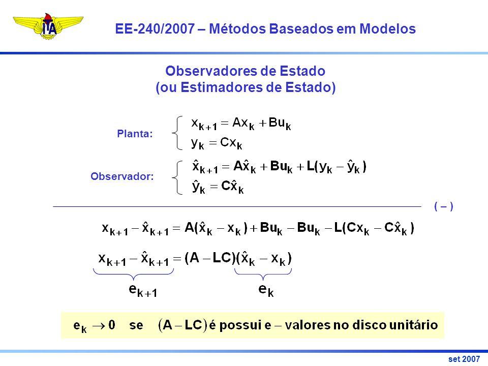 EE-240/2007 – Métodos Baseados em Modelos set 2007 Observadores de Estado (ou Estimadores de Estado) Planta: Observador: ( – )