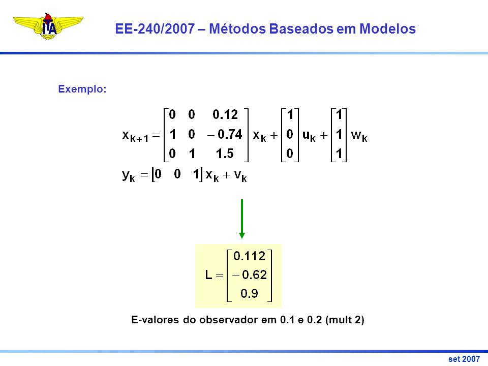 EE-240/2007 – Métodos Baseados em Modelos set 2007 Exemplo: E-valores do observador em 0.1 e 0.2 (mult 2)