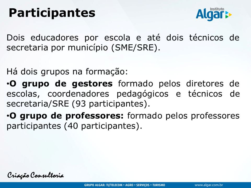 Criação Consultoria Esquema da formação 1º.Encontro de Formação Março (Educadores e Líderes ) 2º.
