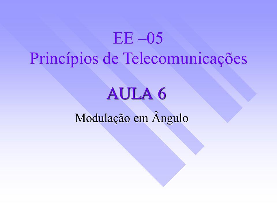 Definição Neste tipo de modulação o ângulo da portadora varia de acordo com o sinal em banda base.