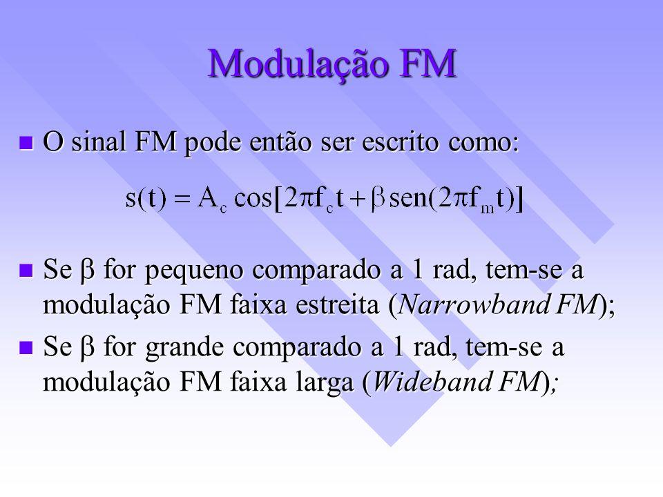 Modulação FM O sinal FM pode então ser escrito como: O sinal FM pode então ser escrito como: Se for pequeno comparado a 1 rad, tem-se a modulação FM f