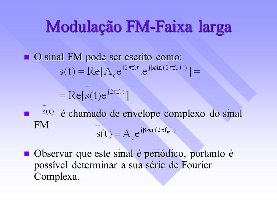 Modulação FM-Faixa larga O sinal FM pode ser escrito como: O sinal FM pode ser escrito como: é chamado de envelope complexo do sinal FM é chamado de e