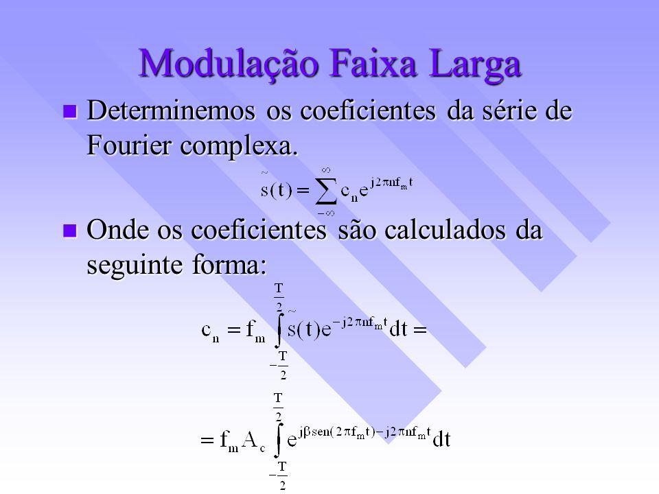 Modulação Faixa Larga Determinemos os coeficientes da série de Fourier complexa. Determinemos os coeficientes da série de Fourier complexa. Onde os co