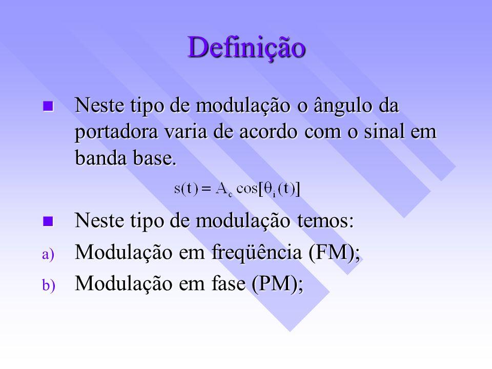 Definição Neste tipo de modulação o ângulo da portadora varia de acordo com o sinal em banda base. Neste tipo de modulação o ângulo da portadora varia