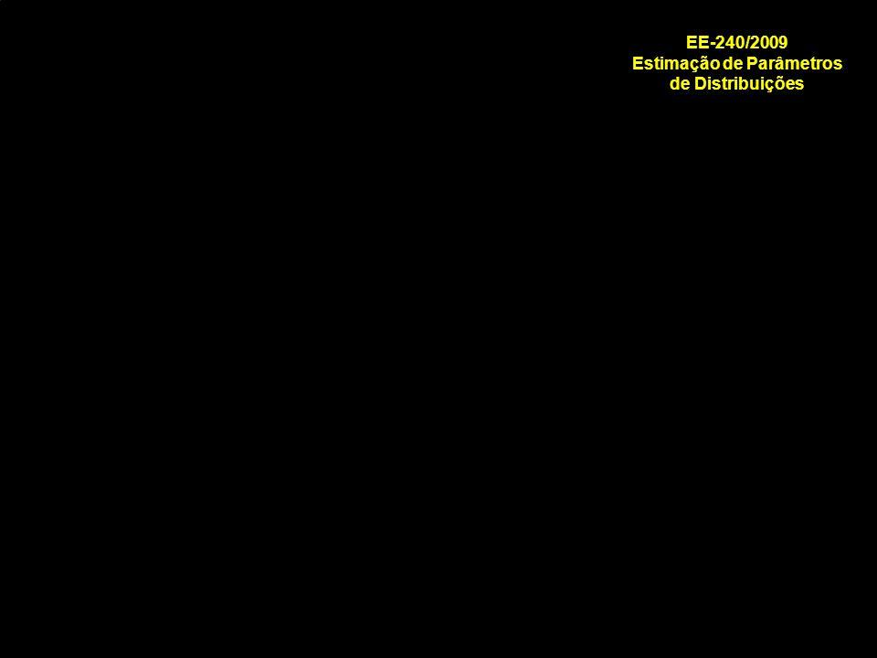 EE240/2009 Estimação de Parâmetros de Funções de Distribuição de Probabilidade Exercício: Distribuição Exponencial MRMR