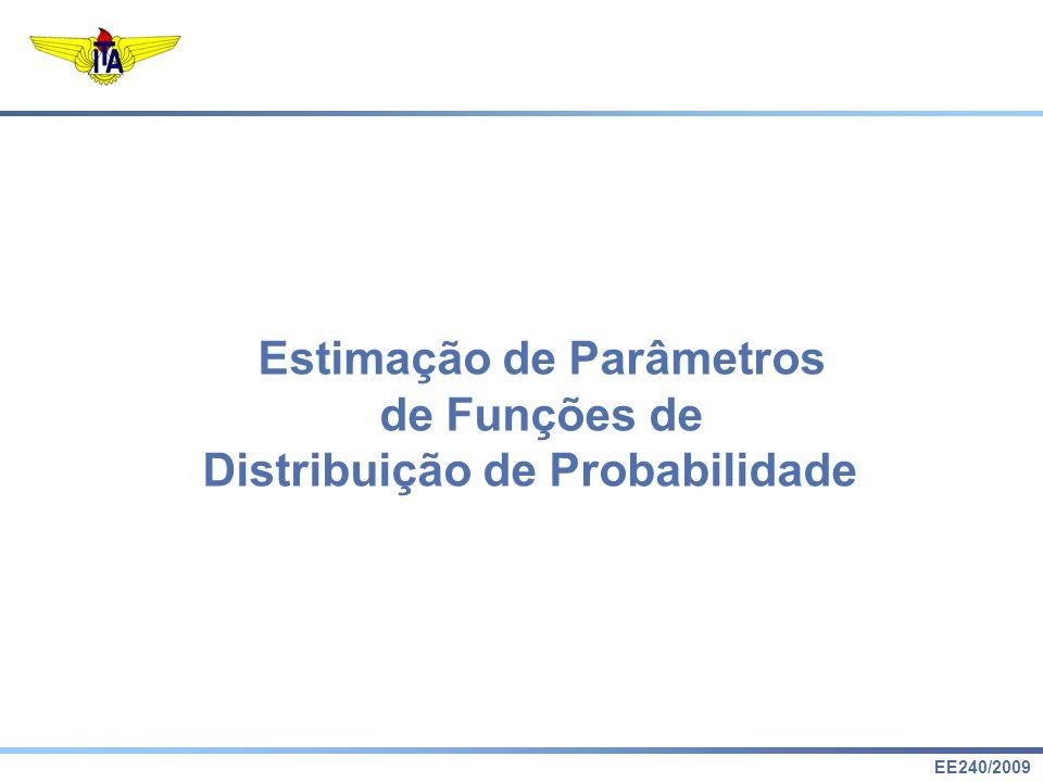 EE240/2009 Estimação de Parâmetros de Funções de Distribuição de Probabilidade Exercício: Distribuição Exponencial MRMR tFtF