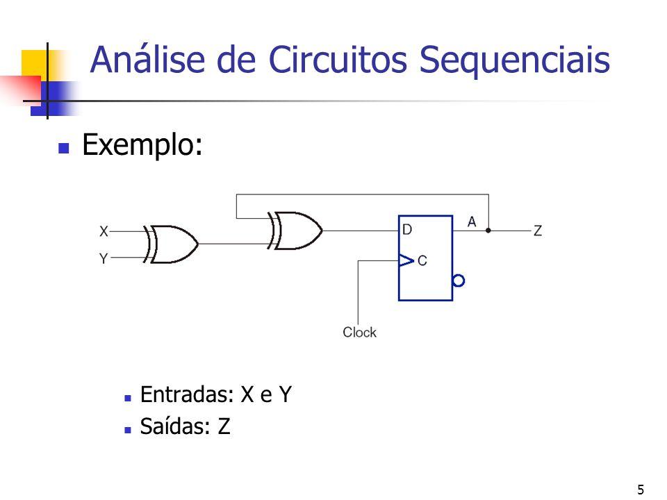 5 Análise de Circuitos Sequenciais Exemplo: Entradas: X e Y Saídas: Z