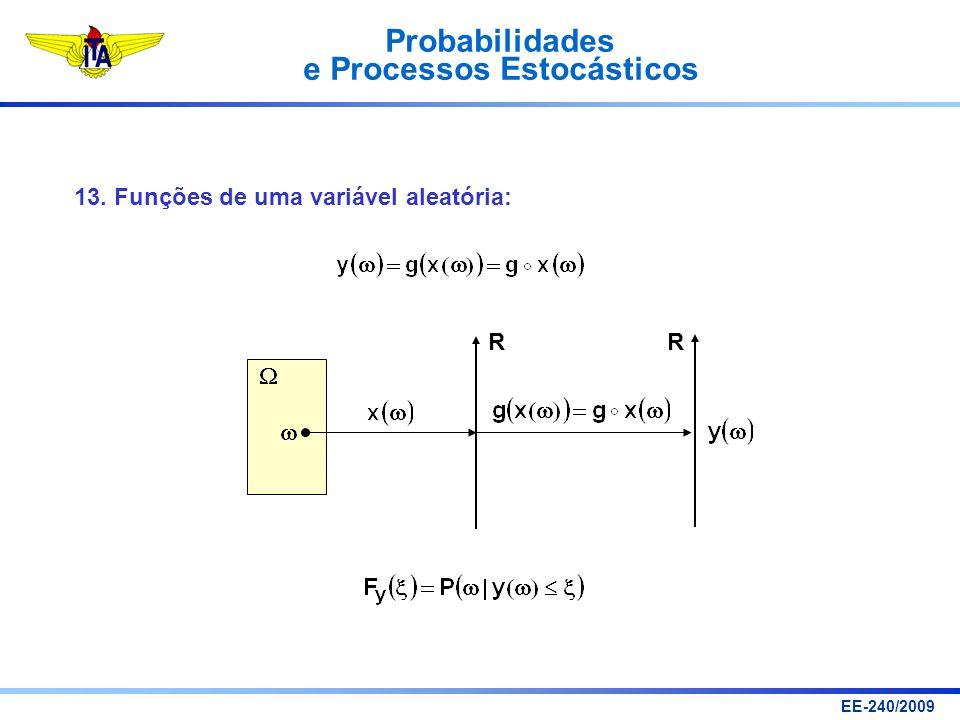 Probabilidades e Processos Estocásticos EE-240/2009 13. Funções de uma variável aleatória: R R