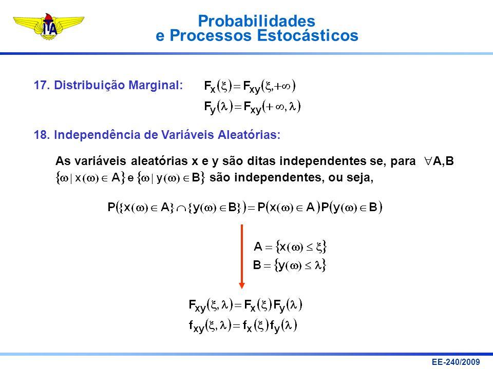 Probabilidades e Processos Estocásticos EE-240/2009 17. Distribuição Marginal: 18. Independência de Variáveis Aleatórias: As variáveis aleatórias x e