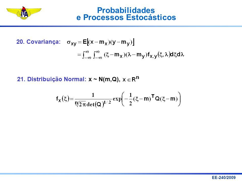 Probabilidades e Processos Estocásticos EE-240/2009 20. Covariança: 21. Distribuição Normal: x ~ N(m,Q),