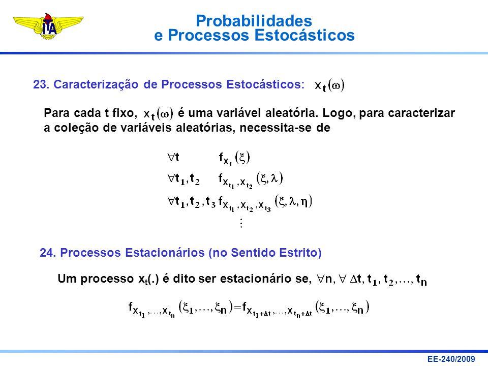 Probabilidades e Processos Estocásticos EE-240/2009 23. Caracterização de Processos Estocásticos: Para cada t fixo, é uma variável aleatória. Logo, pa