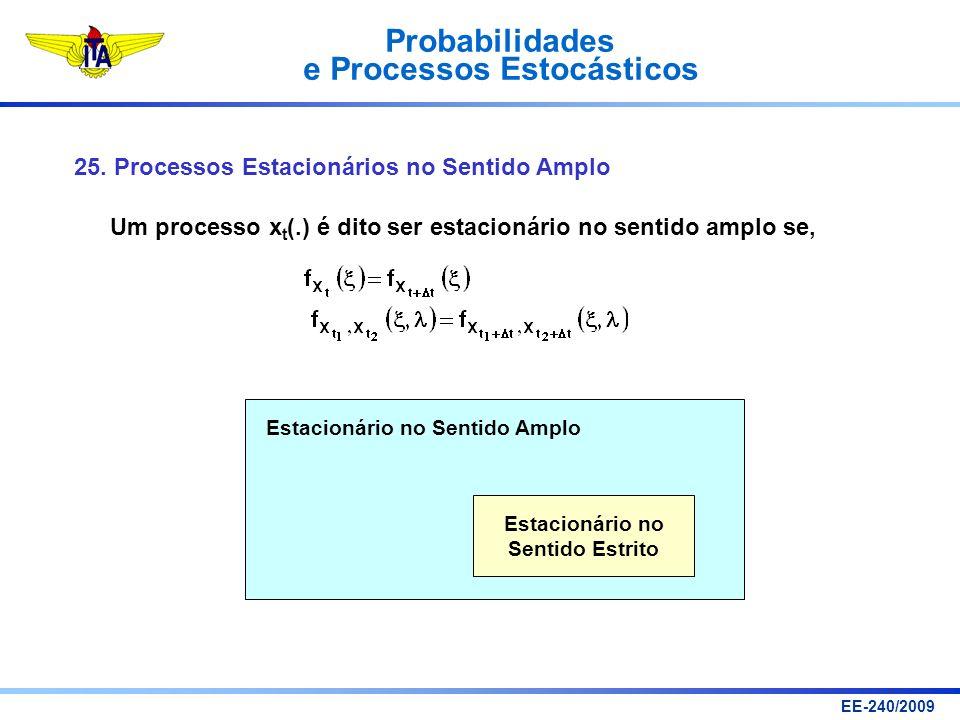 Probabilidades e Processos Estocásticos EE-240/2009 25. Processos Estacionários no Sentido Amplo Um processo x t (.) é dito ser estacionário no sentid