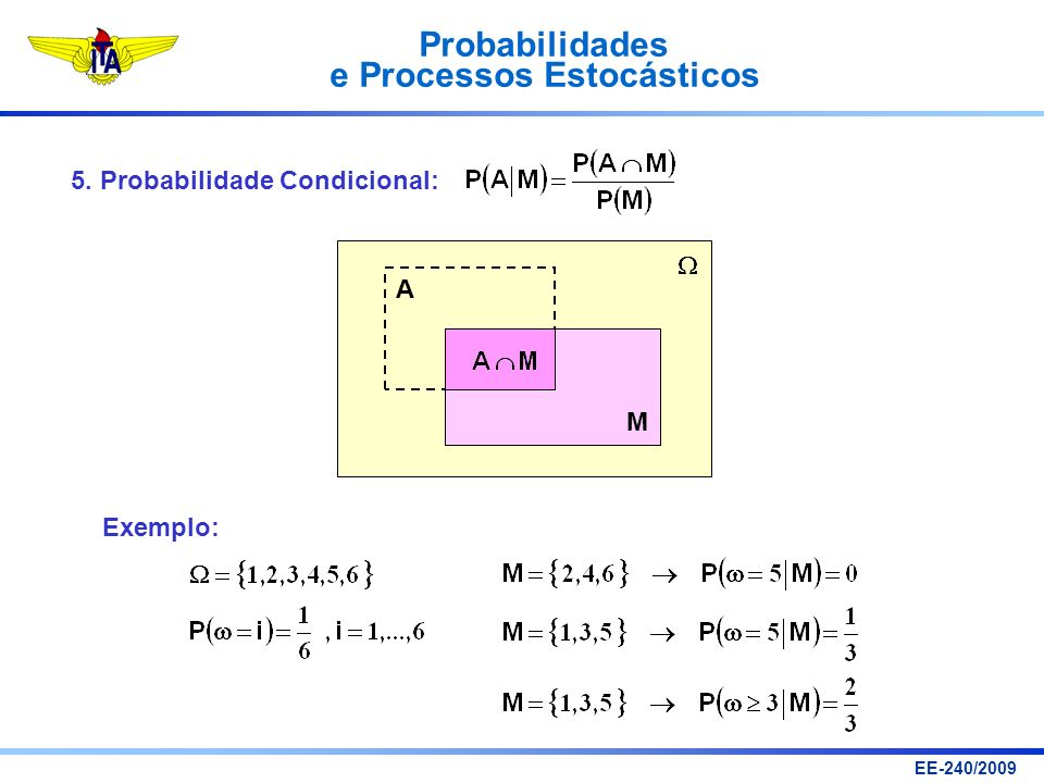 Probabilidades e Processos Estocásticos EE-240/2009 Caracterização de Processos Estocásticos: Para cada t fixo, é uma variável aleatória.