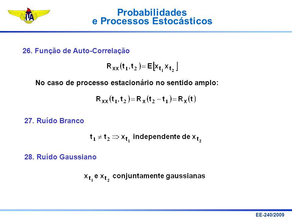 Probabilidades e Processos Estocásticos EE-240/2009 26. Função de Auto-Correlação No caso de processo estacionário no sentido amplo: 27. Ruído Branco