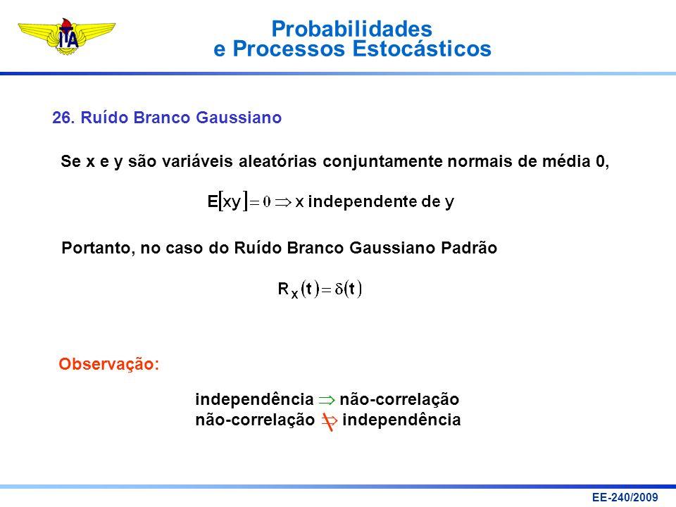 Probabilidades e Processos Estocásticos EE-240/2009 26. Ruído Branco Gaussiano Se x e y são variáveis aleatórias conjuntamente normais de média 0, Por